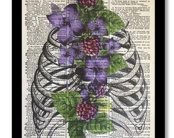 Anatomical Prints, Anatomical Art, Rib Cage, Rib Cage Art Print, Rib Cage Flowers, Anatomy, Anatomy Print, Anatomy Art, Sternum Prints, 8x10