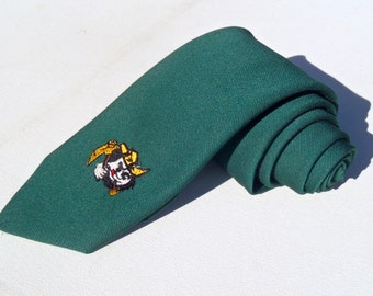 Vintage 1970s University of West Virginia Mountaineers Green Novelty Polyester Tie