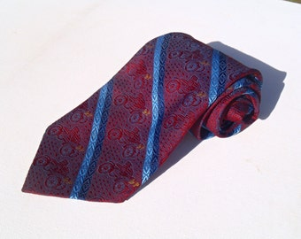 Vintage 1970s Wide Red Polyester Tie with Blue Antique Car Pattern by Superba