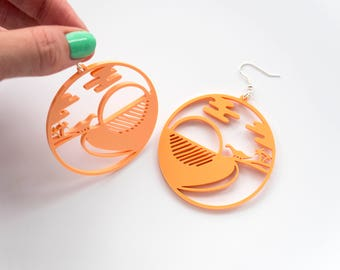 Dinosaur Dangle Earrings. Diplodocus Drop Earrings. Laser Cut Acrylic Dinosaur Colour Perspex. Statement Earrings. Dinosaur Jewellery