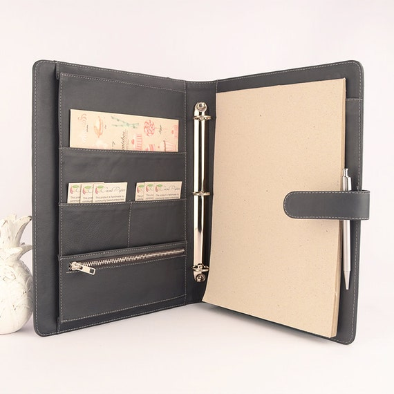 NEW A4 Leather Ring Binder Planner / Organizer 3 Or By