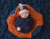 Detroit Tiger Baby Hat, Newborn Photo Prop, Detroit Tiger Baseball, Detroit Tiger Hat, Newborn Detroit Tiger Hat, Baby Detroit Tiger Hat