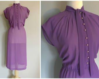 Vintage 1970s PURPLE PUSSYBOW DRESS/size Small-Medium