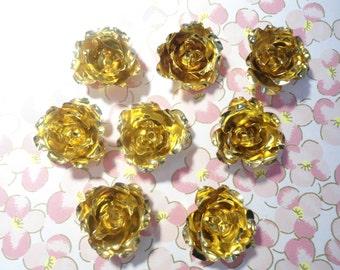 8 Vintage Brass Large Roses