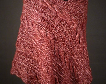 Chunky Cabled Poncho, Hand Knit Poncho, Cable Knit Poncho, Ready to Ship
