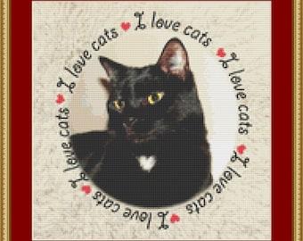 I Love Cats Cross Stitch Pattern