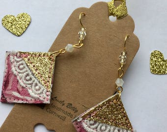 Vintage inspired lace, pink and gold earrings