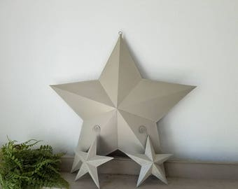 Metal Stars Farmhouse Set of 3 metal stars Wall decor 24