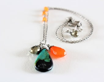 Pyrite, Turquoise and Carnelian Silver Necklace   Oxidized Silver Pyrite, Turquoise and Carnelian Necklace