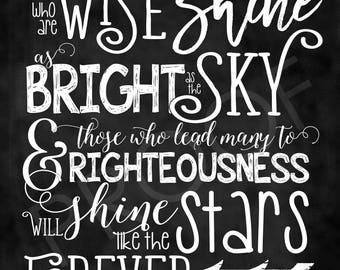 Scripture Art - Daniel 12:3 ~ Chalkboard Style