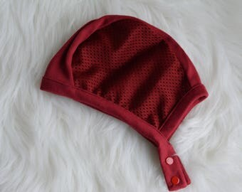 LilNells Hat for Babies with Hearing Aids,Solid Brick Red Mesh Hat, Hearing Aid Hat with Snaps, Pilot Hat with Mesh Sides,Hat for Cochlear
