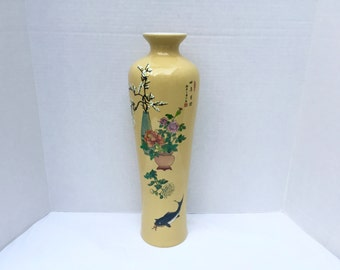 "Yellow Tall Chinese Porcelain Vase 18"" - Koi Fish Cherry Blossom Calligraphy Marked Chinoiserie Mid Century Regency Decor Asian Oriental"