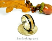 Silver half dollar and Irish Oak wood wedding band engagement rings