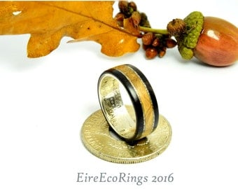Silver half dollar and Irish Oak wood wedding band engagement rings