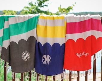 Monogram Round Beach Roundie Towel Blanket Aqua Cabana Stripe Scallop Personalized