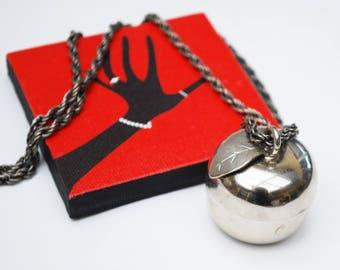 Apple Locket Pendant Necklace - Silver fruit - Teachers gift - 24 inch silver chain