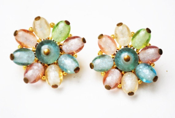 Pastel Flower Earrings - Crown Trifari -  Pink Green and Blue Translucent lucite bead - Clip on Earrings - Mid Century