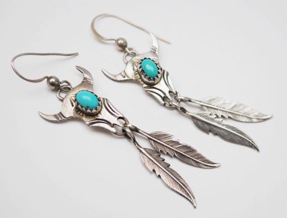 Sterling Turquoise Dangler Earrings - Silver bull skull feather - Southwestern Native American - pierced drop earring