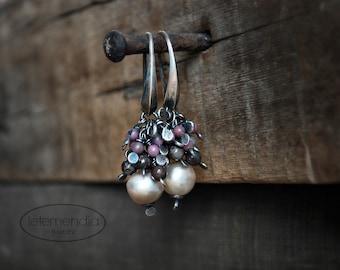 Cluster Earrings Earth Tones Pink Brown Pearl Rhodochrosite Silver Boho Gemstone Earrings by Letemendia Jewelry Handmade