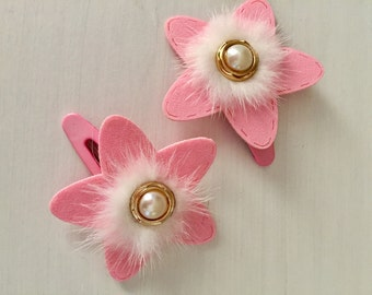 Pink fluffy hair clips