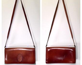 1970s Cartier Handbag Brown Leather Cartier Clutch Ox-Blood Red Designer Crossbody Bag Small Shoulder Bag Vintage Cartier Purse