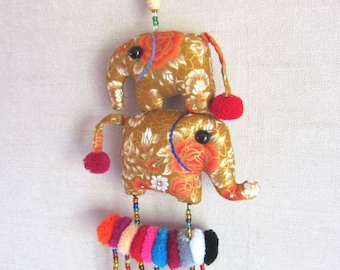 Golden Elephant Mobile Pom Pom Nursery Mobile Elephant Baby Shower,Gift Nursery Wall Hanging, Crib Mobile Baby Girls Nursery, Wholesale