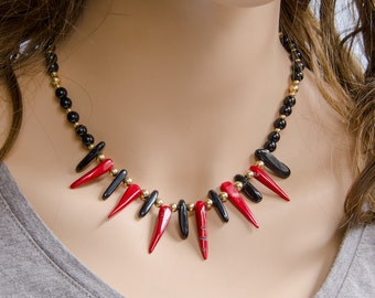 Tribal Red Coral Spike & Black Onyx Statement Necklace with 14K Gold Fill, Handmade, Genuine Undyed Coral, Real Coral Necklace