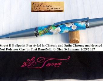 Ballpoint Pen Executive Pen Handmade Wall Street Sierra Satin Chrome Polymer Clay by Toni Ransfield