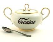 Big Redesigned Cocaine Handled  Lidded Sugar Pot Porcelain Handles Drug Vintage Golden Rim Halloween White Brown Fun Funny