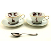 Set of 2 Altered Vintage  Cups Porcelain Coffee Tea Lace Collar Saucers Face Lina Cavalieri Geekery Vintage Romantic Gold Rim Whimsical