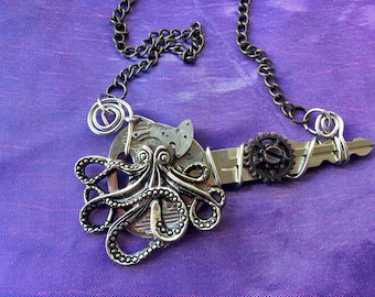 Steampunk Octopus Necklace, Octopus Necklace, Watch Parts, Octopus Necklace, Upcycled Key, Wire Wrapped Key