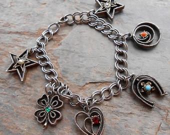 Vintage 1960's Silver Tone Chunky Lucky Star Clover Heart Horseshoe Charm Bracelet
