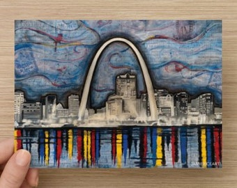 "St. Louis Skyline Cityscape - 5""x7"" Unframed Art Print by Jamie Rice- Midwest Desk Art,  Wall Decor"
