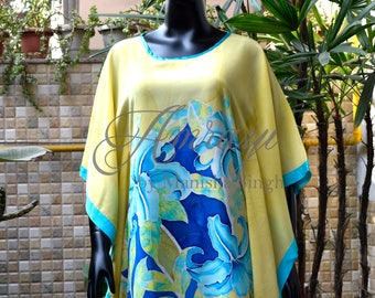 Kaftan - hand painted on silk crepe - Blue  lily on  yellow backgroud