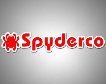 "Spryderco logo vinyl Sticker 6.0"" x 1.3"" dual colors white over pink"