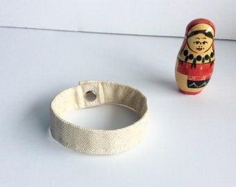 Vegan Leather Bracelet - Boho Cuff Bracelet - Fabric Cuff Bracelet - Women's - Waxed Canvas