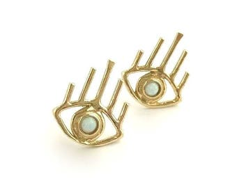 Opal Vision Earrings // Opal Evil Eye Earrings, All Seeing Eye Earrings