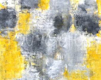 Digital Download - Idea, Grey, Black and Yellow Abstract Artwork