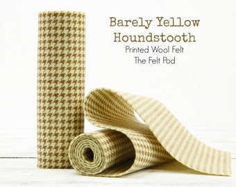 BARELY YELLOW Houndstooth Wool Felt Roll  // Printed Felt Roll // Printed Wool Felt Roll // Houndstooth Felt Roll // Houndstooth Fabric