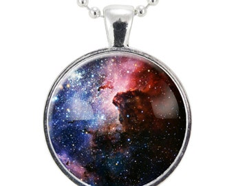 Carina Nebula Galaxy Necklace, Space Science Jewelry, Cosmos Pendant (1168S25MMBC)