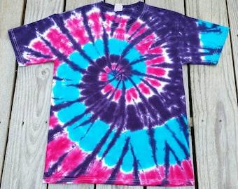 Girls Pink Purple Blue Tie Dye Tshirt, S M L XL, Kids Tie Dye Shirt, Hippie Kids, Girl Tie Dye Tee, Tie Dye