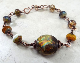 Bracelet Copper Rosary Style Chain Basha Bead and Picasso Czech Glass