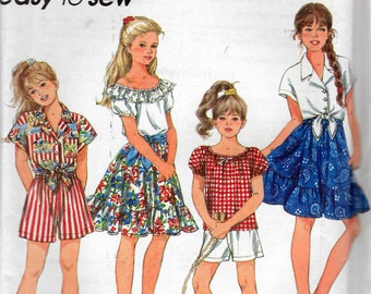 """Vintage 1993 Simplicity 8309 Girls' Shorts, Skirt, Top & Shirt Sewing Pattern Size 7 - 10 Breast 26"""" - 28 1/2"""" UNCUT"""