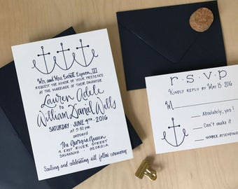 Nautical Wedding Invitations / Anchor Wedding Invites / Lighthouse Invitations / Navy Wedding Invitation Suite / Yacht Wedding Invitation