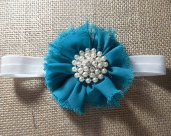 Teal and Ivory with Pearls Flower Headband