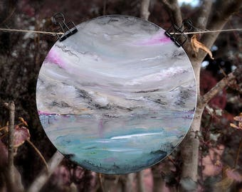 Round painting, Original landscape painting, Abstract landscape, Cotton candy landscape art, pink clouds, ethereal painting