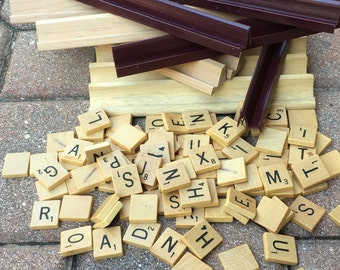 98 SCRABBLE Wood Letter Tiles and 12 Tile Holders Stands