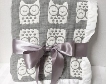 Gauze Swaddle Blanket, Personalized Muslin Blanket, Birth Announcement Blanket, Muslin Swaddle, Baby Keepsake Blanket, Owl Baby Blanket