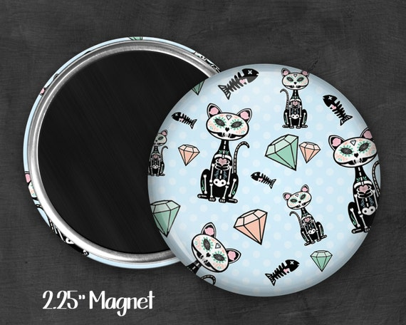 "2.25"" Skeleton Kitty Magnet, Geek Magnet, Geekery, Magnet Button,  Kawaii Magnet, Refridgerator Magnet, Kawaii, Fairy Kei, Pastel Goth"