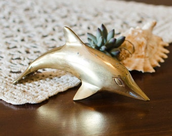 Brass Dolphin Figurine - Nautical Beach Figural Art, Paperweight - Vintage Ocean House Home Decor